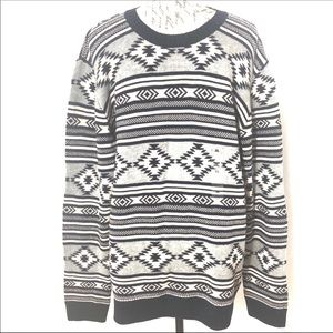 Long Sleeve Indian Aztec Knit Pullover Sweater XL